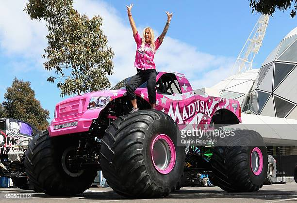 Debra Miceli poses on her truck Madusa during a media opportunity ahead of Monster Jam at AAMI Park on October 3 2014 in Melbourne Australia
