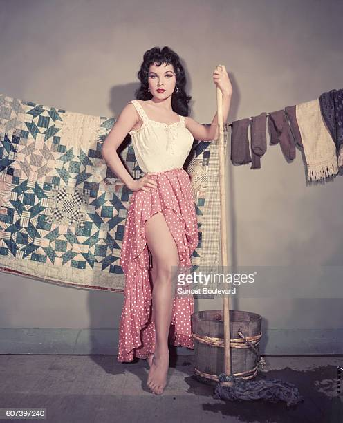 Debra Paget on the set of The Gambler From Natchez