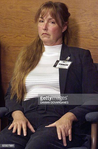Debra Tate sister of murder victim Sharon Tate listens as Leslie Van Houten describes the events of the murder of the LaBianca couple during her...