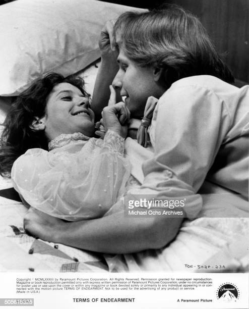 Debra Winger and Jeff Daniels are playful in bed scene from the Paramount Pictures movie Terms of Endearment circa 1983