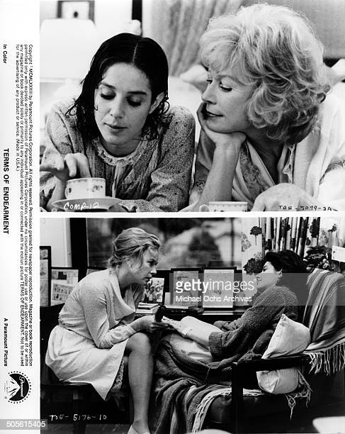 Debra Winger and Shirley MacLaine share a mother daughter moment in a scenes from the Paramount Pictures movieTerms of Endearment circa 1983