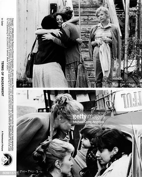 Debra Winger is reunited with old friends as Shirley MacLaine looks on Shirley MacLaine and Lisa Hart Carroll say goodbye Debra Winger in a scene...