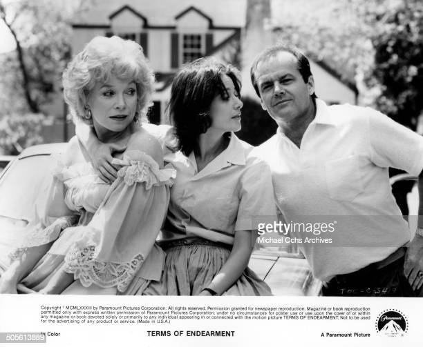 Debra Winger talks Jack Nicholson as she holds onto Shirley MacLaine in a scene from the Paramount Pictures movie'Terms of Endearment' circa 1983