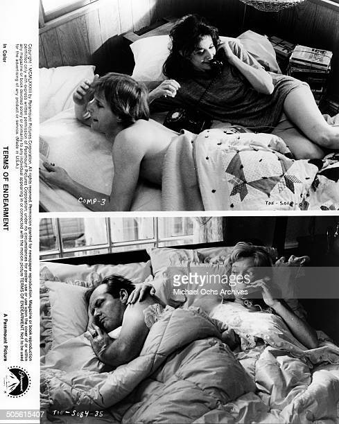 Debra Winger talks on the phone as Jeff Daniels listens Shirley MacLaine talks on the phone as Jack Nicholson sleeps in a scene from the Paramount...