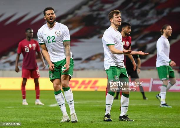 Debrecen , Hungary - 30 March 2021; Cyrus Christie, left, and Jayson Molumby of Republic of Ireland reacts after a missed opportunity on goal during...