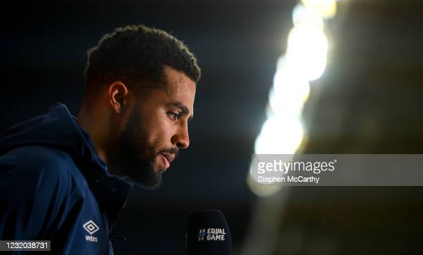 Debrecen , Hungary - 30 March 2021; Cyrus Christie of Republic of Ireland speaks to television broadcasters after the international friendly match...