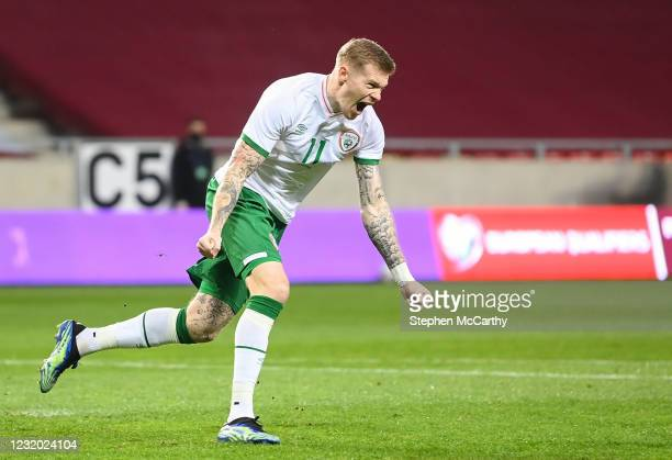 Debrecen , Hungary - 30 March 2021; James McClean of Republic of Ireland celebrates after scoring his side's first goal during the international...
