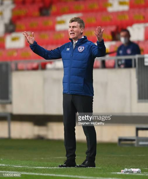 Debrecen , Hungary - 30 March 2021; Republic of Ireland manager Stephen Kenny during the international friendly match between Qatar and Republic of...