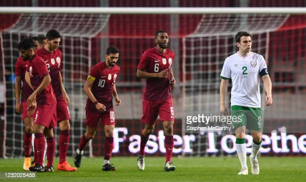 Debrecen , Hungary - 30 March 2021; Seamus Coleman of Republic of Ireland reacts after Qatar score their first goal, scored by Mohammed Muntari,...