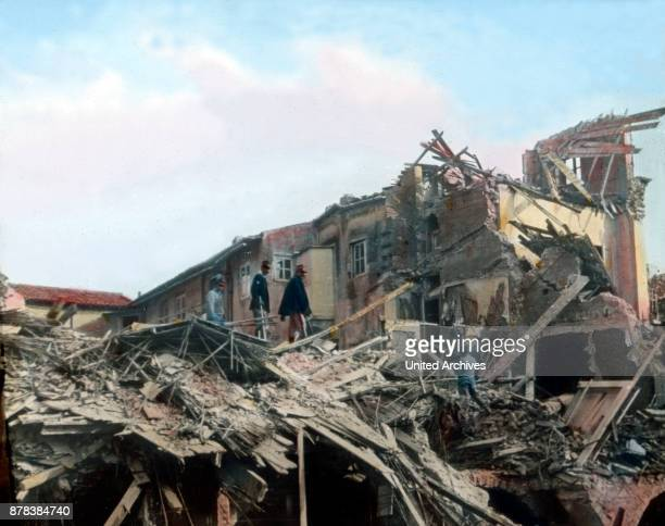 Debris after an earthquake in the city of Messina Sicily