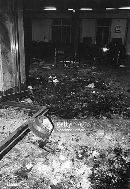 Debris and a hat at the entrance to the Banca Nazionale dell'Agricoltura, after the explosion of the bomb. Milan, 12th December 1969