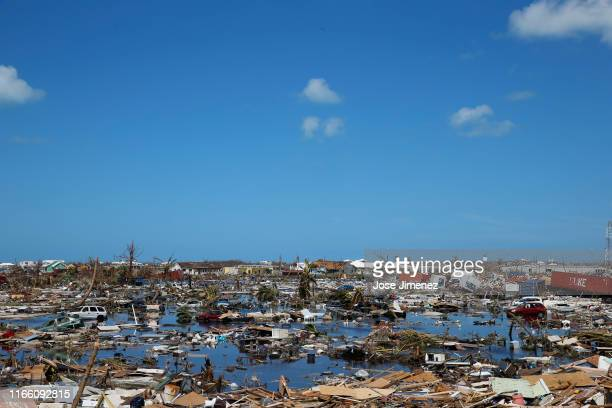 Debris and damage is seen after Hurricane Dorian passed through in The Mudd area of Marsh Harbour on September 5 2019 in Great Abaco Island Bahamas...