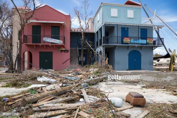 Debris and damaged storefronts, hurricane Irma, Cruz bay, St John