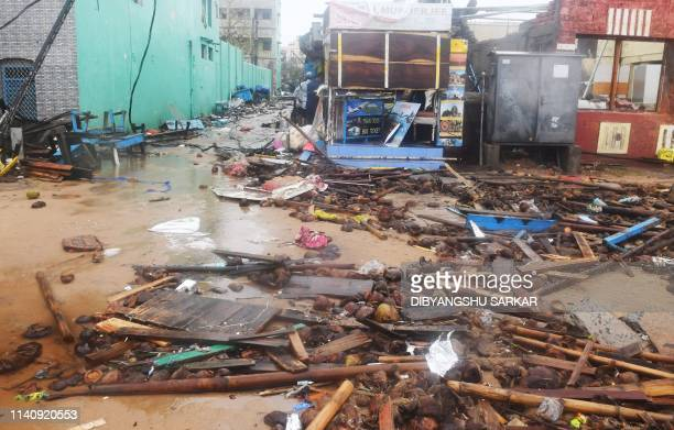 Debris and mud is seen along a street after Cyclone Fani landfall in Puri in the eastern Indian state of Odisha on May 3 2019 Two people died on May...