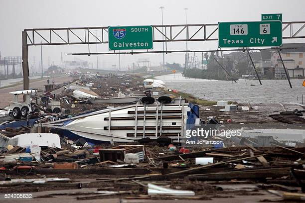 Debris cover Interstate 45 after Hurricane Ike nearing Galveston