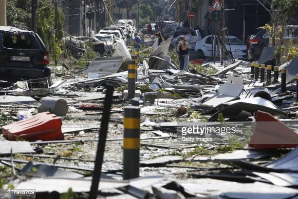 Debris covers a street, devastated by an explosion a day earlier, on August 5, 2020 in Beirut, Lebanon. As of Wednesday morning, more than 100 people...