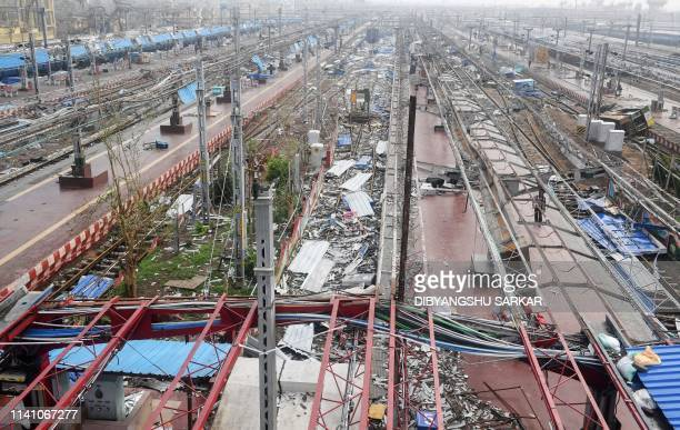 Debris covers the train tracks and platforms at the stormdamaged railway station in Puri in the eastern Indian state of Odisha on May 4 after Cyclone...