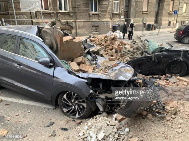 Debris damaged parked cars after spread from buildings following a 5.3 earthquake on March 22, 2020 in Zagreb, Croatia. A magnitude 5.3 earthquake...