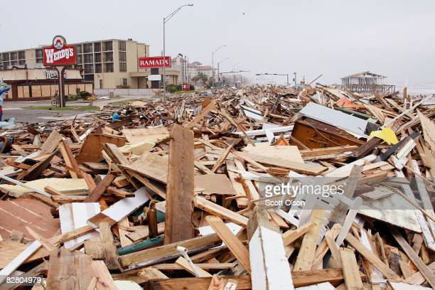 Debris deposited by Hurricane Ike covers Seawall Blvd September 13 2008 in Galveston Texas Ike made landfall near Galveston TX early today as a...