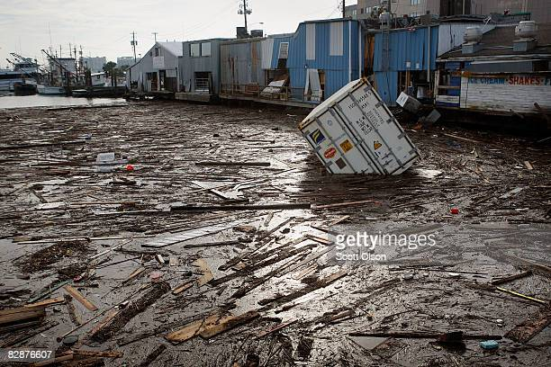 Debris floats in the water at the marina following Hurricane Ike September 18 2008 in Galveston Texas Most of the island remains without running...