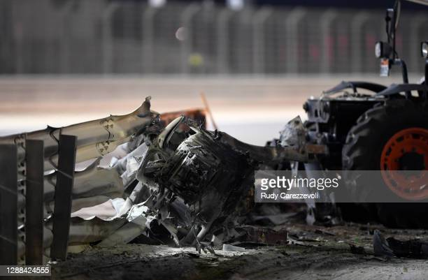 Debris following the crash of Romain Grosjean of France and Haas F1 is pictured during the F1 Grand Prix of Bahrain at Bahrain International Circuit...