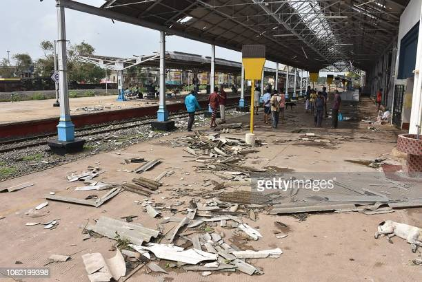 Debris from a damaged roof is pictured on a platform at the train station in Nagapattinam in India's southern Tamil Nadu state on November 16 after a...