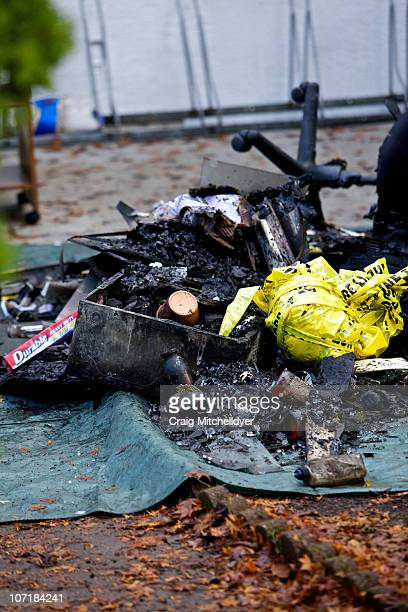 Debris from a fire at the Salman Al Farisi Islamic Center is shown on November 28 2010 in Corvallis Oregon An arsonist set fire to the prayer center...
