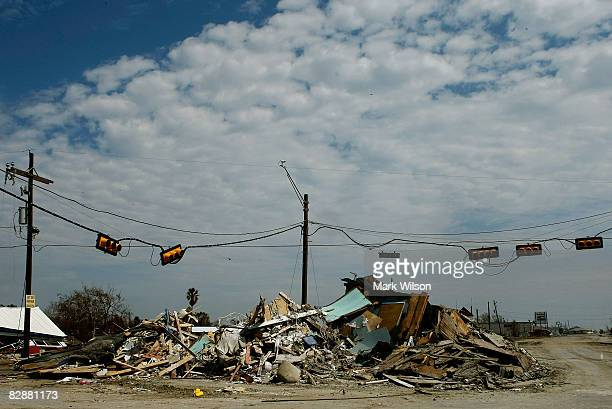 Debris from homes and businesses is piled up at an intersection on HWY 87 caused by the force of Hurricane Ike on September 18 2008 in Crystal Beach...