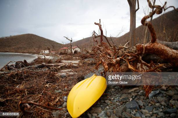 Debris from Hurricane Irma is seen on the beach in Maho Bay St John in the US Virgin Islands on Sep 14 2017