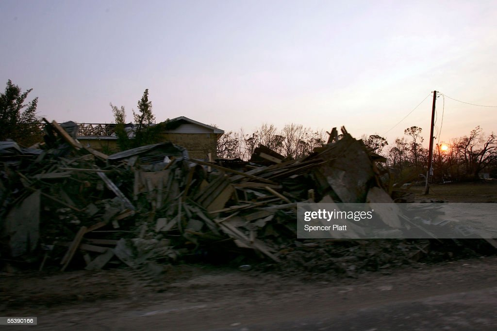 Debris from Hurricane Katrina lines the streets September 12, 2005 in Waveland, Mississippi. Thousands of residents of the Gulf Coast are still without electricity or access to basic amenities after Hurricane Katrina swept through the area two weeks ago.