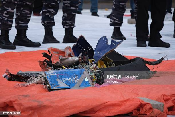 Debris from Sriwijaya Air flight SJ182 on January 10, 2021 in Jakarta, Indonesia. Sriwijaya Air flight SJ182, carrying 62 people on board a flight...