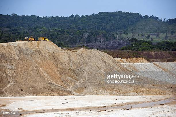 Debris from surface gold mining have left vast areas of land with permanent ecological damage near the village of Nueva in Puerto Maldonado...