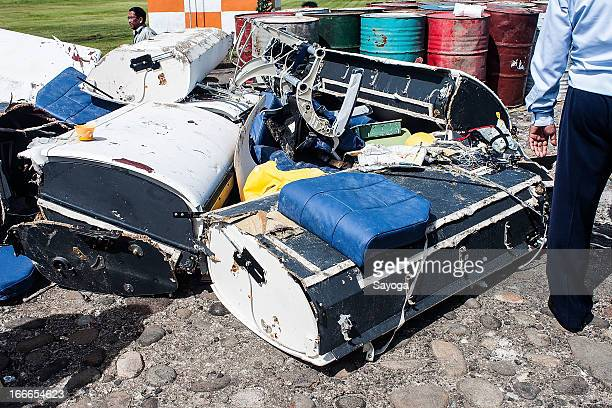 Debris from the Lion Air plane is gathered near the crash site on April 15 2013 in Badung Bali Indonesia The Lion Air passenger plane with over 108...
