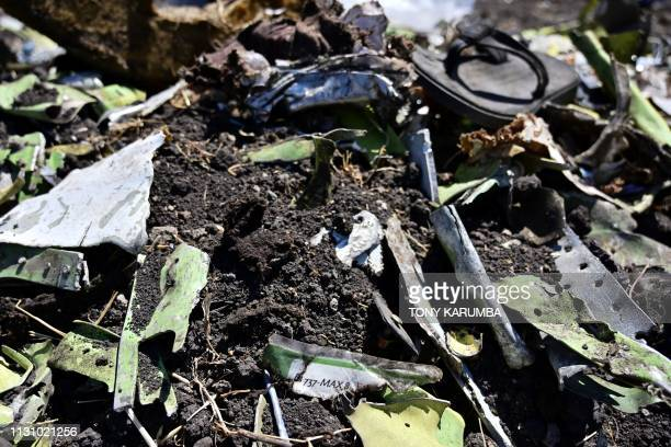 TOPSHOT Debris including a charred part of an onboard safety instruction card are is seen at the crash site of an Ethiopian airways operated Boeing...
