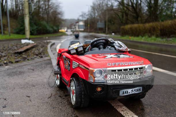 Debris is left on Oxford Street after floodwaters recede on February 17, 2020 in Nantgarw, United Kingdom. A major incident was declared by South...