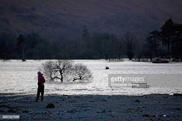Debris is left on the shoreline of Ullswater as the lake next to the Cumbrian village of Glenridding continues to flood on December 10 2015 in...