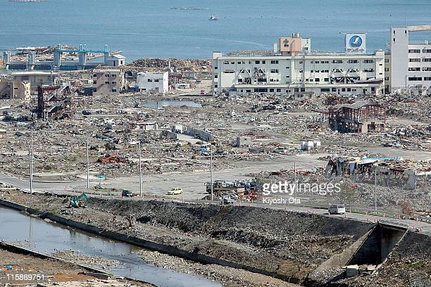 Debris is scattered on June 11 2011 in Minamisanriku Miyagi Japan The Japanese government has been struggling to deal with the earthquake and tsunami...