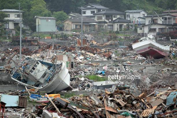 Debris is scattered on June 12 2011 in Otsuchi Iwate Japan Japanese government has been struggling to deal with the earthquake and tsunami as well as...
