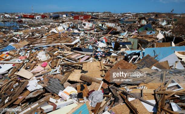 Debris is seen after Hurricane Dorian passed through in The Mudd area of Marsh Harbour on September 5, 2019 in Great Abaco Island, Bahamas. Hurricane...