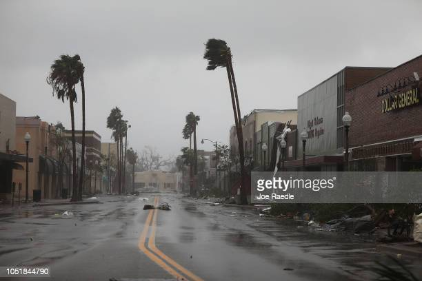 Debris is seen after hurricane Michael passed through the downtown area on October 10 2018 in Panama City Florida The hurricane hit the Florida...