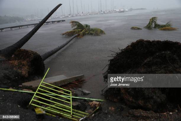 Debris is seen during a storm surge near the Puerto Chico Harbor during the passing of Hurricane Irma on September 6 2017 in Fajardo Puerto Rico The...