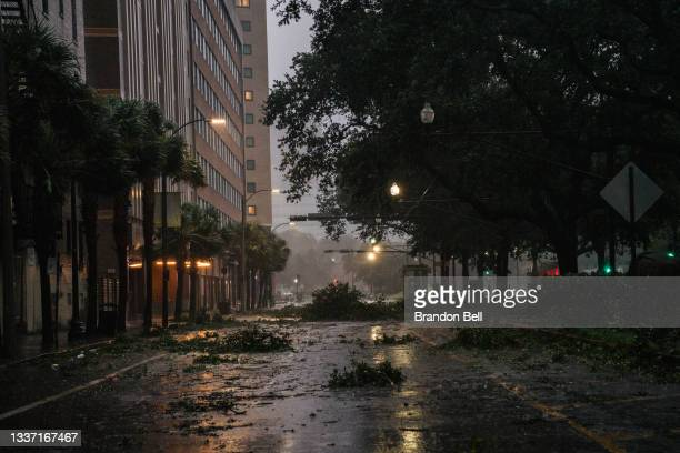 Debris is seen in an intersection in downtown on August 29, 2021 in New Orleans, Louisiana. Hurricane Ida made landfall earlier today and continues...