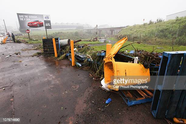 Debris is seen on the side of a road on January 11 2011 in Toowoomba Australia 8 people so far have been confirmed dead in towns in the Lockyer...