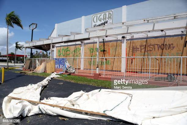 Debris is shown in the wake of powerful Hurricane Irma on September 11 2017 in Key Largo Florida Irma made landfall as a Category 4 storm twice in...