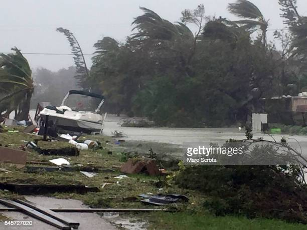Debris is shown strewn along a roadway in the wake of powerful Hurricane Irma on September 11 2017 in Isamorada a village encompassing six of the...