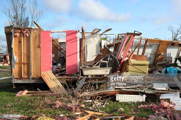 Debris is strewn next to a mobile home destroyed by Hurricane Michael on October 11 2018 in Panama City Florida The hurricane hit the Florida...