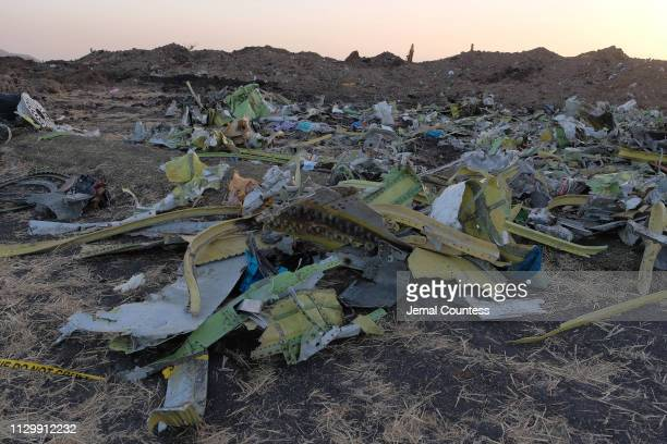 Debris lays piled up just outside the impact crater after being gathered by workers during the continuing recovery efforts at the crash site of...