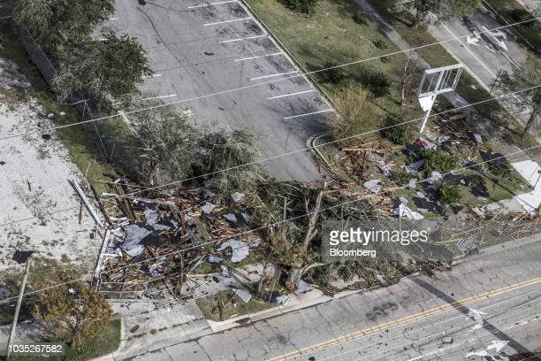 Debris lies across the ground in the Smiths Creek Industrial Park in this aerial photograph taken after Hurricane Florence hit in Wilmington North...