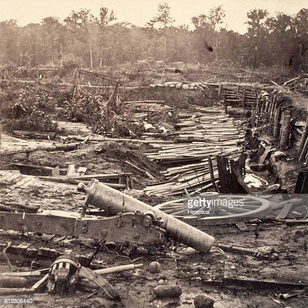 Debris litters the battlefield at Port Hudson Louisiana From March until July 1863 Union and Confederate forces clashed here | Location Port Hudson...
