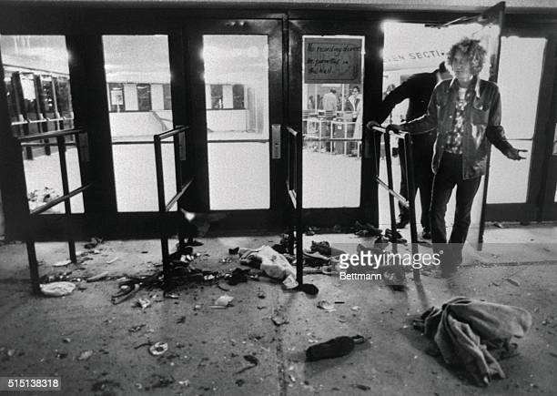 Debris litters the ground in front of the doors where 11 people were trampled to death as they attempted to enter the Riverfront Coliseum December...